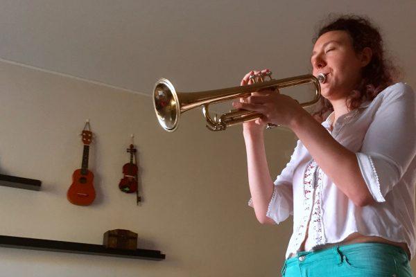 Vanessa Massera playing the trumpet